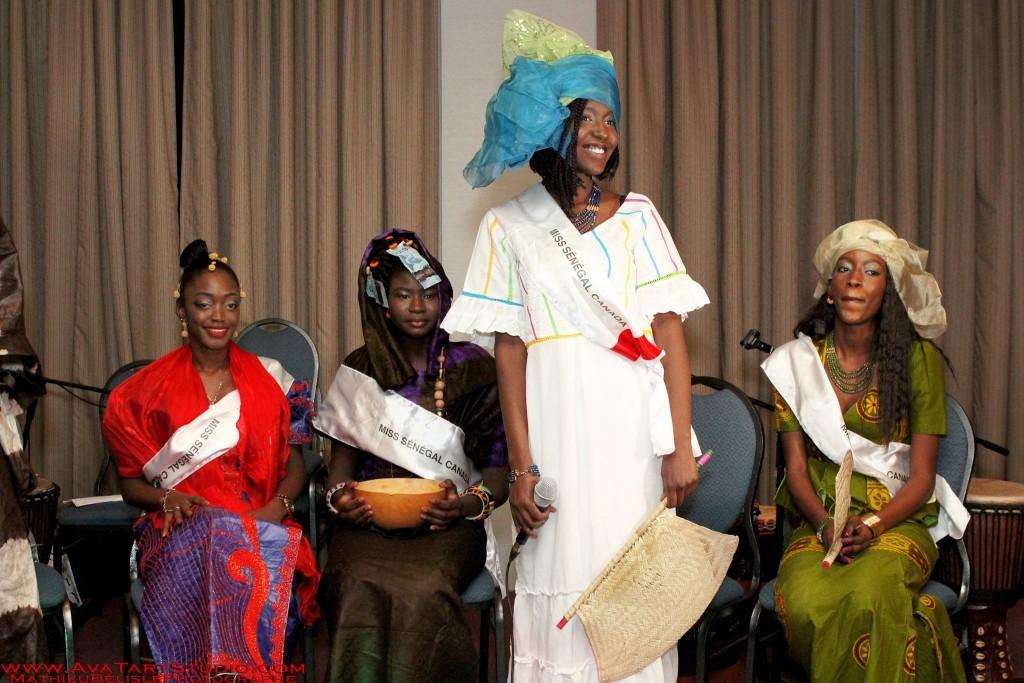 De gauche à droite: Sofia Ba (2e Dauphine), Awa Camara (Miss traditionnelle SEN, CAN), Soukeye (Miss Sénégal Canada), Ndèye Yacine Cissé ( 1e Dauphine).