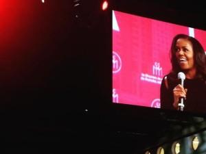 Michelle Obama à Montréal.   Photo : Widia Larivière