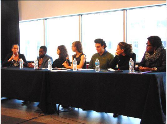 De gauche à droite : Renée-Chantal Belinga, Frantz Benjamin, Josefina Blanco, Lisa-Marie Gervais, Younes Boukala, Marianne Giguère et Nathalie Pierre-Antoine