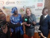 (2e à droite), Mme Christine St-Pierre, ministre des Relations Internationales et de la Francophonie représentante du Gouvernement du Québec lors du Forum économique Sénégal - Canada 2018 à Montréal