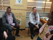 M. Jean Marie Mousenga (à gauche) coordonnateur des Journées africaines et M. Serge St-Arneault (à droite), directeur du Centre Afrika dimanche 27 mai à l'Écomusée du fier monde, Montréal